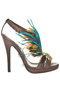 Roberto Cavalli Feather Sandals - Women's Accessories Spring-Summer 2011 #Shoes #Heels