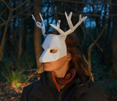 DIY, Low Poly, Animal Masks by Wintercroft. Papercraft Handmade Masks for Halloween. deer mask