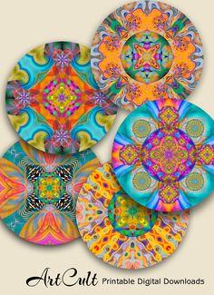 KALEIDOSCOPE MANDALAS 2.5 inch Digital Spiritual art por ArtCult