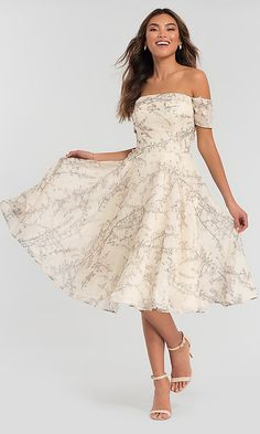 Floral-Print Tea-Length Kleinfeld Bridesmaid Dress