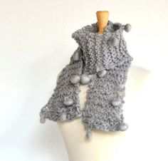 Gray Hand Knit Bobble Scarf Designer Boutique Yarn by Easy123