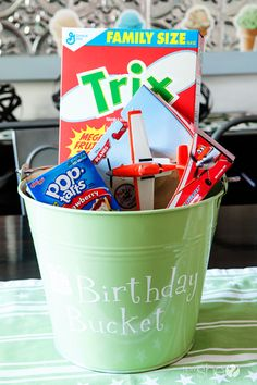 A birthday tradition to start now: a Birthday Bucket--Cute! I would change a few things, but love the idea of it!