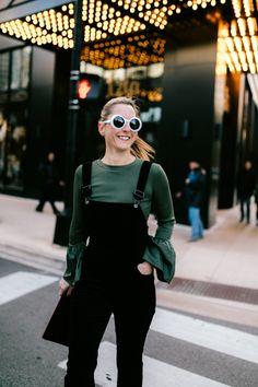Wearing Velvet Overalls as an Alternative to a Dress