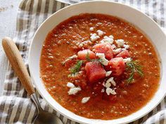Watermelon Gazpacho : Kick off a summer meal with Tyler Florence's quick and refreshing gazpacho. The blended watermelon keeps the soup light, and a bit of serrano chile will add just the right amount of heat.