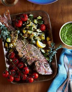 Nina Compton's Recipe for Roast Snapper and Vegetables With Arugula Pesto