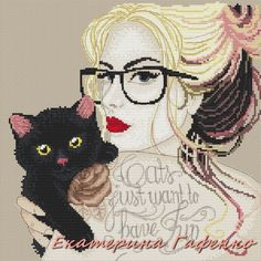 0 point de croix femme à lunettes et chat - cross stitch girl with glasses and cat
