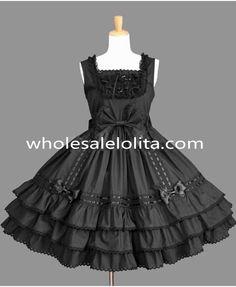 Black Sleeveless Lace Gothic Lolita Dresses Dress Up