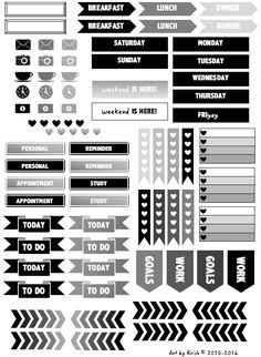 Black and white and gray stickers Here are some printables for your planners. You can purchase them here!