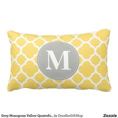 Grey Monogram Yellow Quatrefoil Pattern Throw Pillows