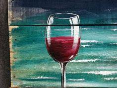 Pallets Woodworking Ideas Pallet wood beach Red Wine painting pallet by TheWhiteBirchStudio Painting On Pallet Wood, Wine Painting, Pallet Art, Painting & Drawing, Wine And Canvas, Wine Art, Beach Wall Art, Beach Artwork, Easy Paintings