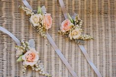 Rustic Flowers wrist corsage with ribbon finish Wrist Flowers, Prom Flowers, Bridesmaid Flowers, Bridal Flowers, Pretty Flowers, Bridesmaid Ideas, Bridesmaids, Flower Corsage, Wrist Corsage