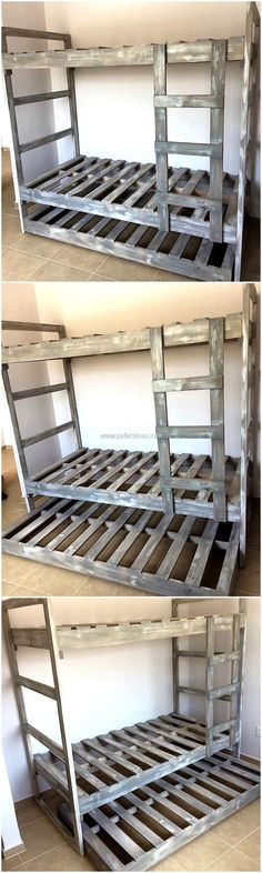 Now here is an idea for the bunk bed plan for the kids, there is a storage space beneath the bed for storing the toys or other items like the blankets or bedspread which can create the mess if placed on the bed in the daytime. Pallet Bunk Beds, Wooden Bunk Beds, Cool Bunk Beds, Kids Bunk Beds, Ideas Cabaña, Bed Ideas, Diy Bunkbeds, 1001 Palettes, Wood Pallet Recycling