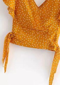 Ruffle Sleeves Crop Top   DISHEE Chiffon Fabric, Ruffle Sleeve, Polka Dot Top, Ruffles, Casual, Elastic Waist, Crop Tops, Sleeves, Shopping