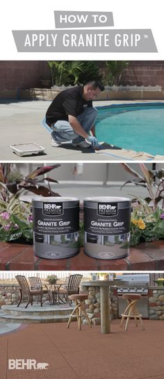 Get your backyard ready for summer entertaining season with a little help from BEHR Premium Granite Grip. Add a decorative granite look to your weathe. Painted Pool Deck, Pool Paint, Pool Deck Decorations, Concrete Deck, Patio Flooring, Cool Deck, Patio Makeover, Diy Patio, Pergola Patio