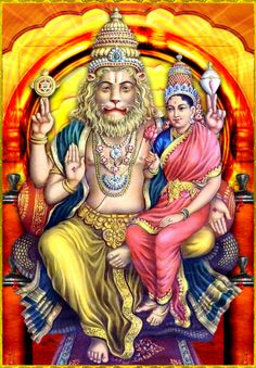 "SHRI LAKSHMI NARASIMHA ॐ Artist: Shilpi Sri Siddalingaswamy ""May the wide-spread and auspicious nails of the lion-faced God, Narasimha, Who is in the company of His consort Laxmi, protect us. Hare Krishna, Krishna Art, Saraswati Goddess, Shiva Shakti, Nara, Lakshmi Images, Krishna Images, Indiana, Signo Libra"