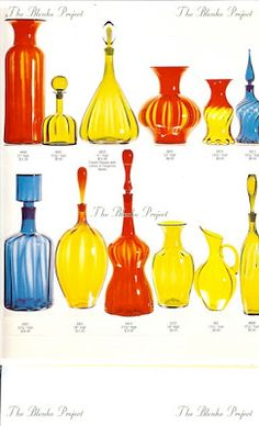 The Blenko Project is dedicated to recording the past, analyzing the present and being an advocate for the growth and preservation of BLENKO GLASS. Blenko Glass, Amber Glass Bottles, Art Of Glass, Antique Glassware, Glass Collection, Hot Sauce Bottles, Preserves, Face Reference, Retro