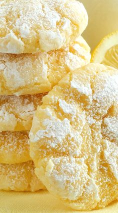 Lemon Gooey Butter Cookies ~ Deliciousness made with all-natural flavoring - triple lemon! Melt-in-your-mouth Lemon Gooey Butter Cookies at their finest and from scratch. Buttery, light and tender-crumbed, sweetened just right and bursting with lemon flav Gooey Butter Cookies, Lemon Sugar Cookies, Yummy Cookies, Lemon Butter Cookies Recipe, Lemon Cookies Easy, Lemon Crinkle Cookies, Cream Cheese Lemon Cookies, Baking Cookies, Lemon Cake Mix Cookies