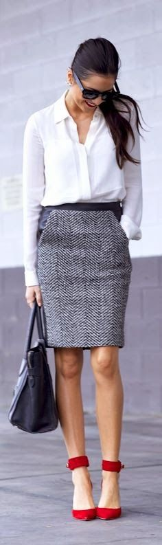 Greyish mini skirt with white shirt and red high heels. Good work outfit with shorter heels