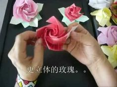 Phu Trans Rose is one of the most beautiful origami rose, with rather complicated steps. Origami And Quilling, Origami Rose, Origami Ball, Origami Paper, Rainbow Loom Charms, Rainbow Loom Bracelets, Rose Tutorial, Ribbon Sculpture, Boutique Hair Bows