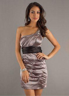 Graceful Stretch Satin Sheath One Shoulder Neckline Short Homecoming Dress