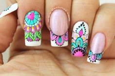 Mandalas sobre semi Gold Gel Nails, Aycrlic Nails, Love Nails, Manicure And Pedicure, Pretty Nails, Mandala Nails, Burgundy Nails, Nagel Gel, Stylish Nails