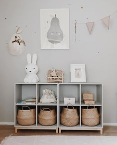 playroom design, kid playroom decor ideas, playroom organization for kid room, kid room decor, woven belly basket in cubby for toy storage for nursery design or girl room design Baby Bedroom, Nursery Room, Girl Room, Nursery Ideas, Nursery Grey, Girl Nursery, Bedroom Ideas, Playroom Decor, Baby Room Decor