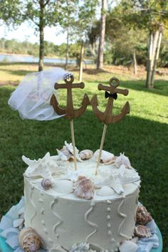 Anchors Away wedding cake topper-Anchors-boat wedding cake topper-sailing-sailing cake topper-nautical theme-beach wedding on Etsy, $25.00