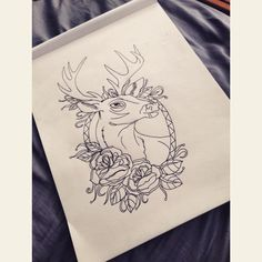 Tattoo design of a deer and roses