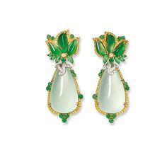 Pair of Icy Jadeite, Jadeite, Gem-Set and Diamond Pendent Earrings, Alessio Boschi