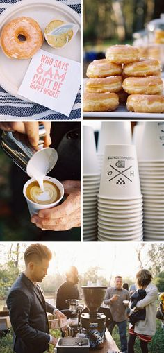 Sunrise Wedding! Coffee and donuts... picnic style. How awesome!