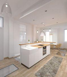 20 Kitchen Lino Flooring for Your Next Renovation Home - Semi Open Kitchen, Open Plan Kitchen Living Room, Kitchen Design Open, Floor Design, House Design, Kitchen Island Bench, European Kitchens, Modern Kitchen Interiors, Minimalist Kitchen