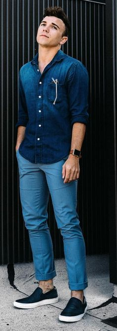 HOT Minimalist Street Styles! Denim on Denim is copybook Minimalist. Monochrome Blue always stands out. Follow rickysturn/mens-casual
