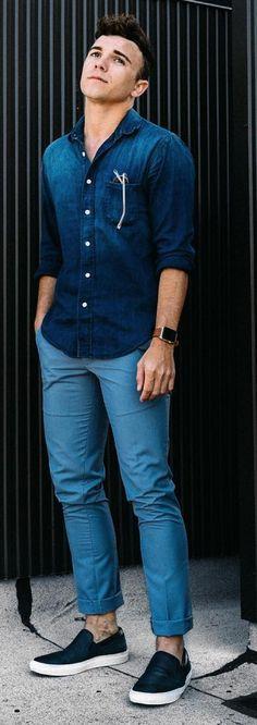 HOT Minimalist Street Styles! Denim on Denim is copybook Minimalist. Monochrome Blue always stands out. Follow rickysturn/mens-casual