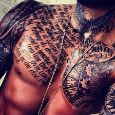 Top 144 Chest Tattoos for Men ❤ liked on Polyvore featuring men's fashion and men's clothing