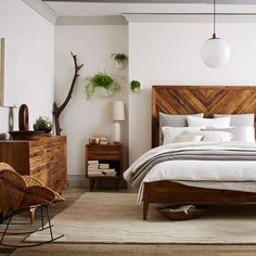 Bedroom | West Elm. Love the clean lines and earthy, natural tones and textures of this room. #interior #design #home #decor