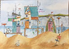 Watercolor beach huts