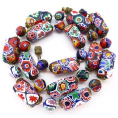 Vintage Deco Moretti Millefiori Rectangular Glass Bead Necklace | Clarice Jewellery | Vintage Costume Jewellery