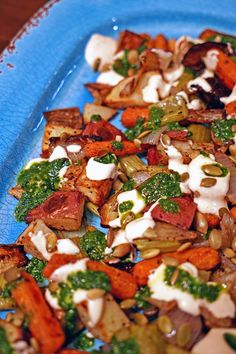 Roasted Vegetables with Chile Yogurt and Cilantro Mint Sauce