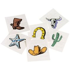 The Western Cowboy Tattoos are temporary, colorful tattoos that can be enjoyed by guests young and old. Each pkg includes 144 assorted tattoos in designs including cowboy boot or hat, sheriff badge, cactus, horseshoe and longhorn skull. Sheriff Callie Birthday, Cowgirl Birthday, Cowgirl Party, 2nd Birthday, Birthday Ideas, Rodeo Party, Birthday Parties, Horse Party, Cowboy Tattoos