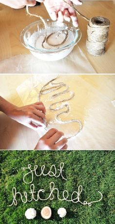#wedding #decoration #trouwen Found on: Green Wedding Shoes (http://greenweddingshoes.com/diy-rope-words-for-your-wedding-day/) - Pinterested @ http://wedspiration.com.