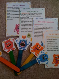 Preschool Printables: Freebie printable stick puppets & songs for monsters