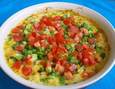 Hot corn dip. Sooo good & easy. Instead of tomatoes & gr chiles I used can of mild rotel with gr chiles but was a little spicy. Topped with cilantro, gr onions, used authentic Mexican cheese & served with lime chips. Next time maybe add some sour cream in it to make