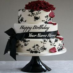Write Name On Birthday Cake Pic Wrapped By Ribbon.Happy Birthday Greetings With Name Pic.Happy Birthday Wishes Name Pictures Online Free.