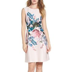 Women's Adrianna Papell Placed Print Fit & Flare Dress ($150) ❤ liked on Polyvore featuring dresses, blush multi, pink dress, pink fit and flare dress, print dresses, floral fit and flare dress and pink fit-and-flare dresses