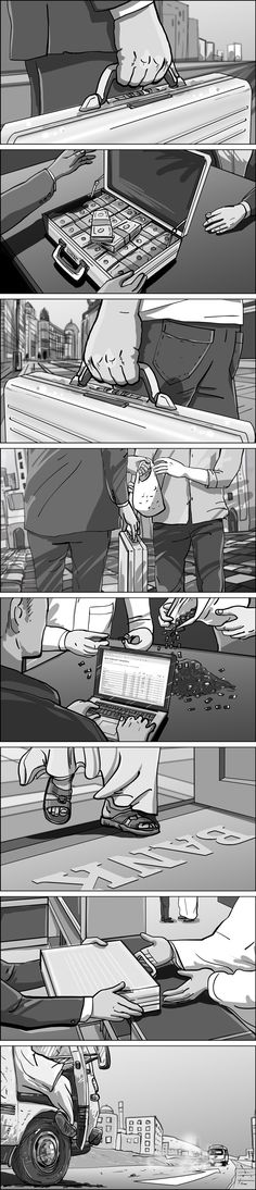 Amazon Jack Ryan series teaser - Follow The Money. Storyboards by Cuong Huynh.