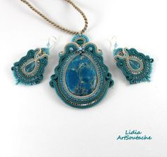 $92  Pendant and earrings soutache Wisior i kolczyki sutasz http://lidiaartsoutache.blogspot.com.es/  Follow me!  https://www.etsy.com/es/shop/LidiaArtSoutache