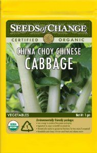 Seeds of Change S10937 Certified Organic China Choy Asian Gourmet Green by Seeds of Change. $4.99. Hermetically sealed package that is re-sealable gives longer life and higher germination rates. Independently tested for high germination rates and purity and meets or exceeds federal standards. Seeds of change contributes 1-percent of net sales to advance the cause of sustainable organic agriculture worldwide. Free of GMO's (genetically modified organisms), chemi...