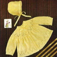 Baby Knitting Patterns Coat Vintage Knitting Pattern Baby Matinee Coat and Bonnet Jacket Cardigan Angel . Baby Bonnet Pattern, Baby Cardigan Knitting Pattern, Knitting Wool, Baby Knitting Patterns, Baby Patterns, Kids Knitting, Free Knitting, Vintage Crochet Patterns, Vintage Knitting