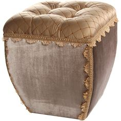 Add an ornate touch to your living room or den with this lovely ottoman, showcasing a tufted lattice-print seat and scalloped trim.     P...