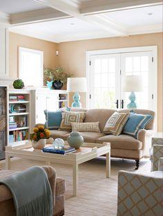 Sand color walls & placid blue accents #interiordesign